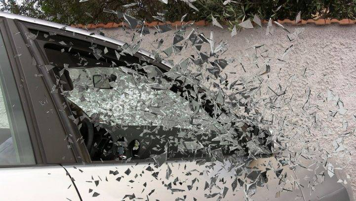 Car Accident Shattered Window hit and run